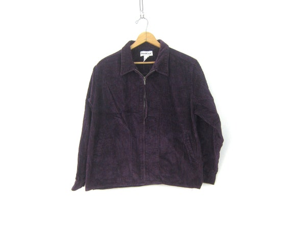 Dark Purple Corduroy Jacket 90s Zip Up Coat Dark Purple Spring Jacket Preppy Cotton Coat Women's Size XL Extra Large