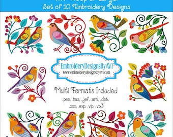 Jacobean Birds and Flowers Machine Embroidery Designs Instant Download Sale