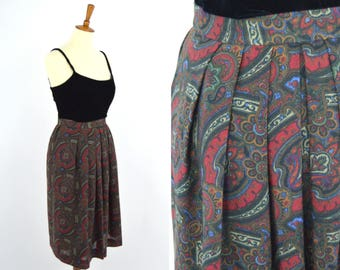 Vintage 1940's Red Brown Paisley Pleated A-line Secretary Skirt - Arabesque High Waist Midi Skirt -Professional Business Casual - Size Small