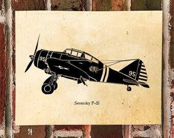 KillerBeeMoto: Limited Print Seversky P-35 Aircraft Print 1 of 50