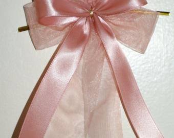 5 large light pink bows-satin/organza ribbon-wedding,birthday,girls room decoration