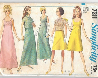 Vintage 1967 Simplicity 7311 Evening Prom Dress 2 Lengths and Jacket Size 12 Bust 32