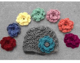 Baby Girl Hat Toddler Hat Baby Girl Crochet Hat Baby Flower Hat Baby Baby Girl Photo Prop Coral Baby Mint Baby Hat Custom Baby Hat