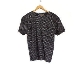 Vintage 90s Oversized Black Metallic Polka Dot Pocket T Shirt - Slouchy IB Diffusion Gold and Silver Dotted Women's Baggy Tee Top