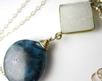 Big Blue - Large Moss Kyanite Briolette and Quartz Druzy in Vermeil and Gold Fill
