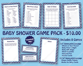Nautical Baby Shower Game Pack Navy Blue -70% OFF- PRINTABLE Baby Shower Games 8 Pack -Navy Blue Baby Blue -Nautical Party Diaper Raffle