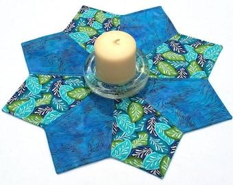 Tropical Leaves Batik Table Topper: teal and aqua blue quilted topper, reversible batik table centerpiece, large candle mat, tropical decor