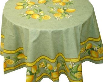 """70"""" Round Tablecloth with Round Motif"""
