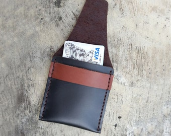 Black brown Business cards holder Credit card holder Money pouch handmade Marapulai