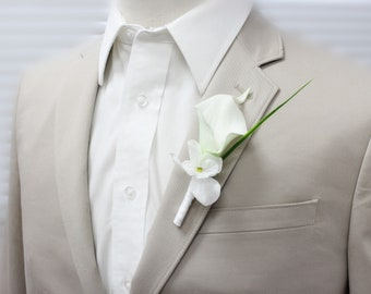 Pick style of boutonniere and ribbon color-keepsake artificial quality calla lily boutonniere prom event meeting dance