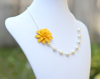 FREE EARRINGS Yellow Dahlia Flower Asymmetrical Necklace, Yellow Flower Necklace, Yellow Bridesmaid Necklace