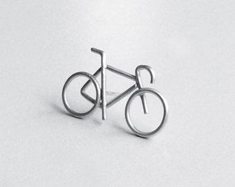Silver pin, Cyclist gifts, Bike pin, For him, Bicycle gift, Small silver bike, Road bike pin