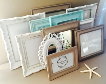 Custom Taupe and Blue Gallery Wall Frame Set; Hand-Painted and Distressed Frame Set; Shabby Chic Frames