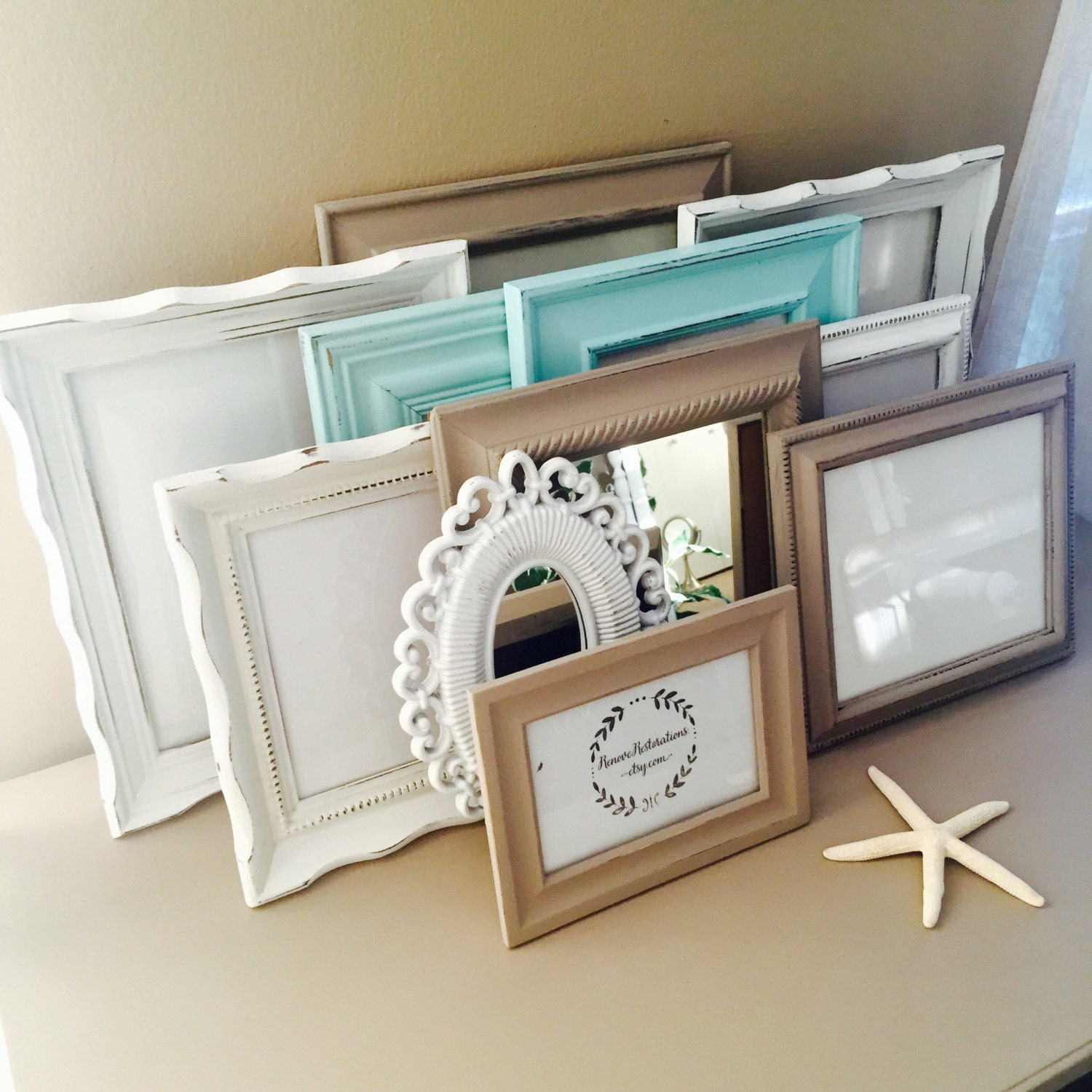 Custom taupe and blue gallery wall frame set hand painted and zoom jeuxipadfo Gallery