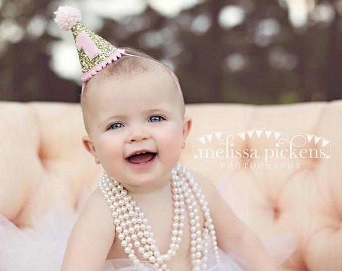 Mini Glittery Birthday Girl Party Hat   Birthday   Cake Smash   1st Birthday   Baby Birthday   Ready to Ship