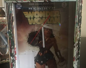 Handcrafted Wonder Woman Wall Clock Recycled Magazines