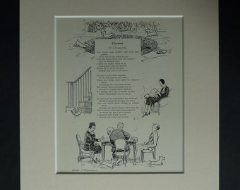 1930s Antique Punch Print, Available Framed, Canine Art, Scottie Dog Poetry Gift, Youthful Energy Picture, Scottish Terrier, Playful Puppy