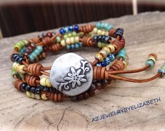 Beaded Wrap Bracelet> Seed Bead Leather Wrap Bracelet> Multi-color Bracelet> Seed Bead Bracelet> Boho Wrap Bracelet> Seed Bead Wrap Bracelet