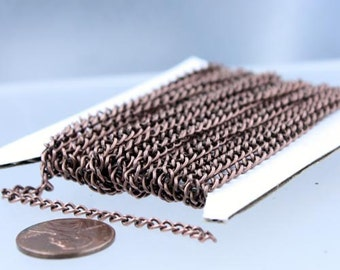Antique Copper Chain bulk chain, 12 ft of Antique Copper Finished Curb Chain - 3.0mm 0.8mm Unsoldered Link