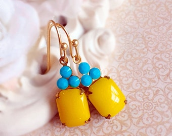Bright Yellow Earrings - Turquoise Earrings - Spring Jewelry - Petite Earrings - Flirty Earrings - REGENCY Sunshine Yellow