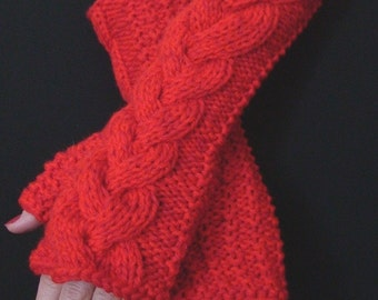 Fingerless Gloves Red   Cabled Handknit  Wrist Warmers, Extra Soft, Warm and Long