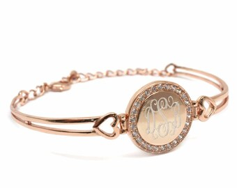 Monogrammed German Silver Bangle Bracelet w/ CZ  Rose Gold Silver Gold