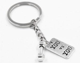 Dumbbell Keychain, You vs You, Best Friend Keychains, Gym, Couples keychain, Custom Charm Pendantl, Barbell Keychain, Fitness Key chains