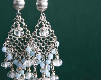 Blue Chandelier Earrings Cluster Gemstone Earrings Spring Statement Earrings Birthday gift Dangle Delicate Dainty Earrings Mother's Day Gift
