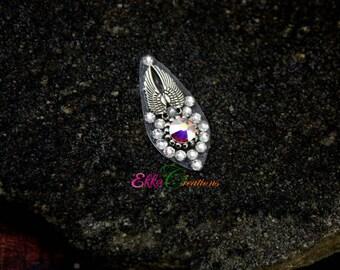 Angel wing bindi/face jewelry/Silver bindi/swarovski bindi/Angel bindi/Bindi Face Gems/3rd Eye gems/pottu/Bollywood bindi/bellydance bindi