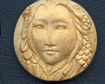 Sale !  Polymer  Clay Gold Highlighted Art Nouveau Goddess Cab  GCR 1