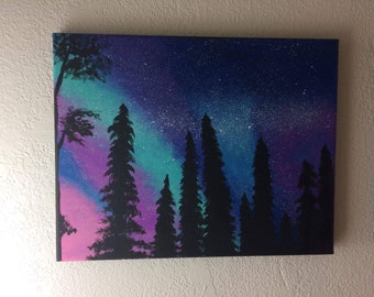 Northern Nights Hand Painted Canvas