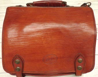 LA CUOIERIA à la main faite Firenze Italie tout en cuir d'épaule sac cartable attaché