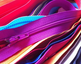 Zippers- 3-30 inch Assorted- (50) Pieces YKK Closed Bottom Zippers for skirts, dresses, purses and more