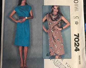 Vintage 80s McCall's 7024 Sheath Dress Pattern-Size Small 10-12 (32 1/2-34 Bust)