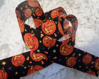 "Halloween Ribbon Jack O Lantern Pumpkin 1 1/2"" By the Yard"