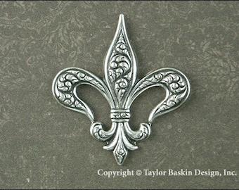 Antique Sterling Silver Plated Fleur de Lis Charm (item 7216 AS) - 2 pieces