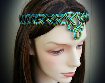 BRAIDED Celtic Circlet Hand Wire Wrapped - Choose Your Own COLORS - Crown Tiara Headdress - Boho Chic