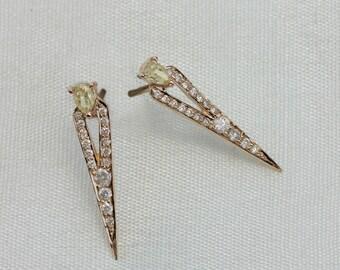 Beautiful 0.54 ct DIAMOND Pave Spike Stud EARRINGS Solid 18k Yellow Gold Handmade Jewelry