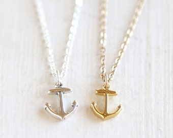 Tiny Layering Anchor Necklace // Gold or Sterling Silver // Everyday nautical jewelry