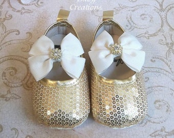 Gold Sequin Shoes, Ivory Birthday Dress, Ivory and Gold Baby Dress, Ivory and Gold Sequin Flower Girl Dress, Ivory and Gold Sequin Shorts