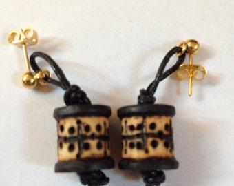 Woodburned & Leather Dotted Design Mini Spool Earrings