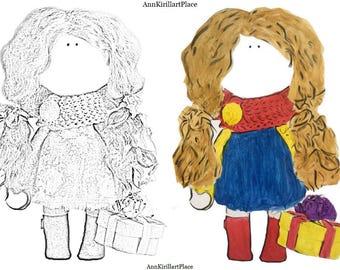 Coloring page Original coloring Watercolor coloring Doll coloring Tilda Printable coloring Magical coloring Beauty colouring Dress coloring