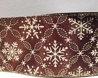 Brown w/Snowflakes- 2.5in Extra-Wide Ribbon- Wire-Edge - 1 Yard