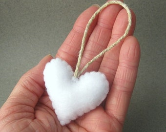White Felt Heart Christmas Ornament Recycled Felt Eco Friendly