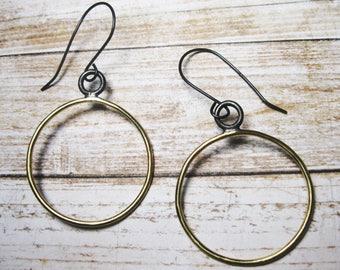 Brass Hoop Earrings - Brass Dangle Earrings - Gift for Her - Sterling Silver Wires - Minimalist Earrings