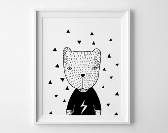 Illustration, Nursery printable, Bear in T-Shirt, Black and White Nursery Art, Downloadable Print, monochromatic art, monochrome print