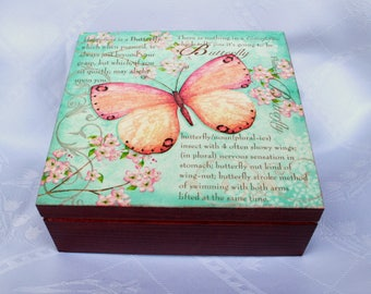 wooden box butterfly, keepsake box, jewerly storage, gift for loved one