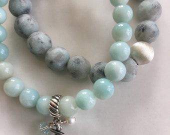 Shabby Chic Aqua gemstones nautical Anchor charm blue beachy glam summer bracelets accessory // by OzzDesigns