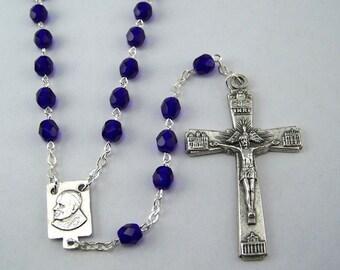 Pope/Saint John Paul Cobalt Blue Rosary (05)