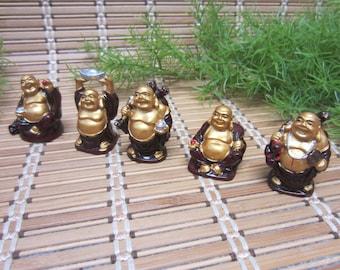 Miniature Buddha Figurines Set of 5 God Small Gold Burgundy Zen Buddhism Asian Chinese Japanese Statue Smiling Vintage FREE SHIPPING (691)